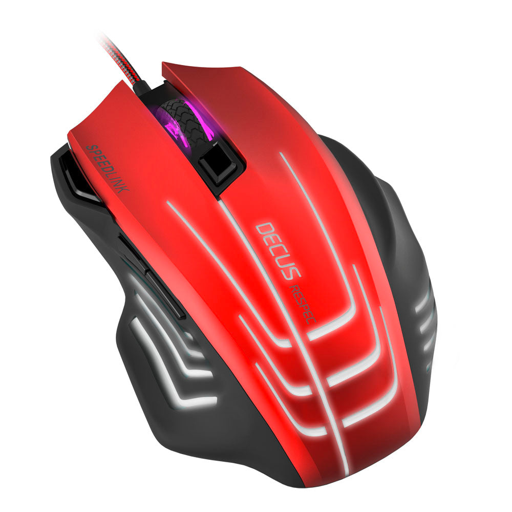 SPEEDLINK Decus Respec 5000dpi Gaming Mouse 7-Colour Lighting , BlackRed - gameregion