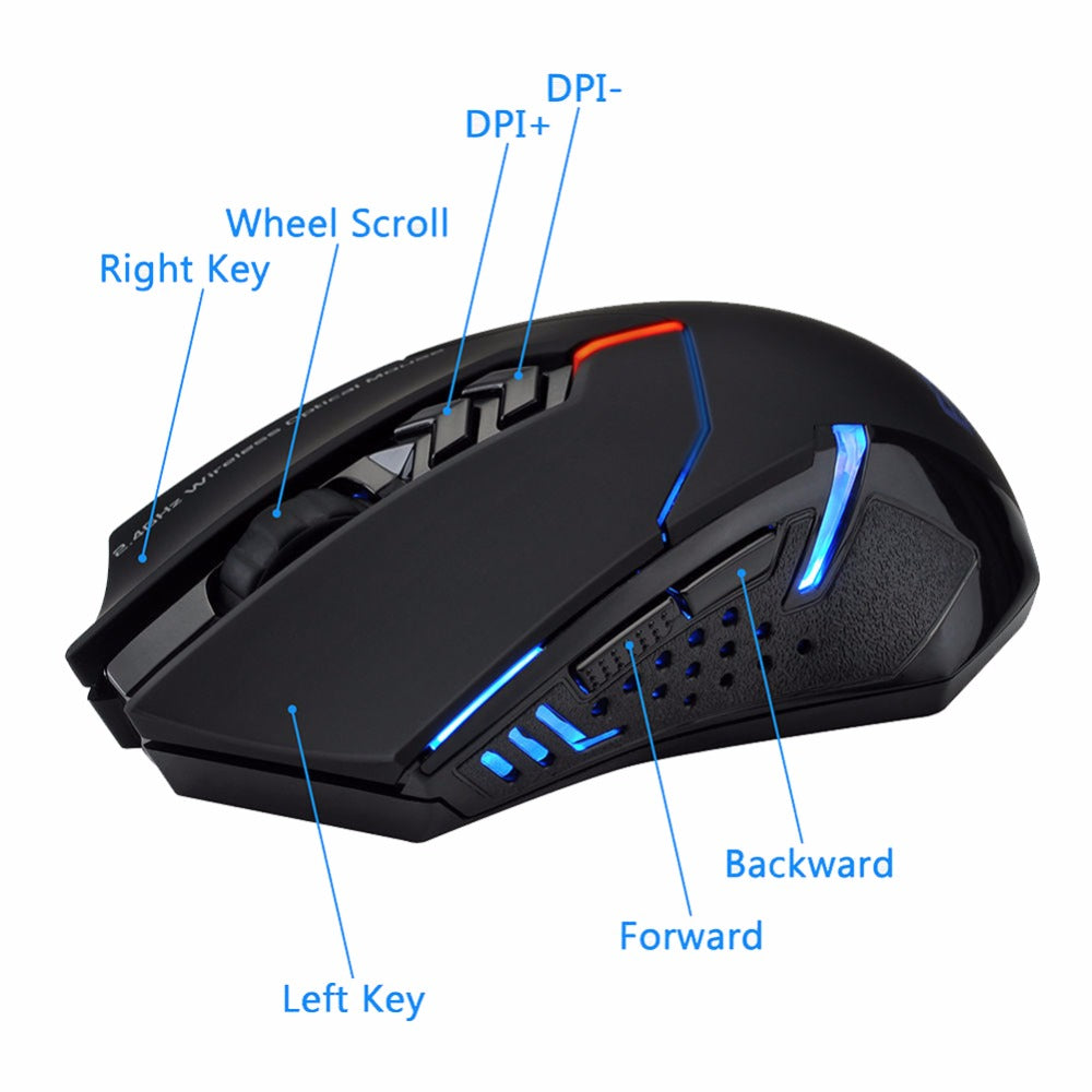 Wireless Gaming Mouse 2400 DPI 2.4G 7 Buttons LED Backlit - gameregion