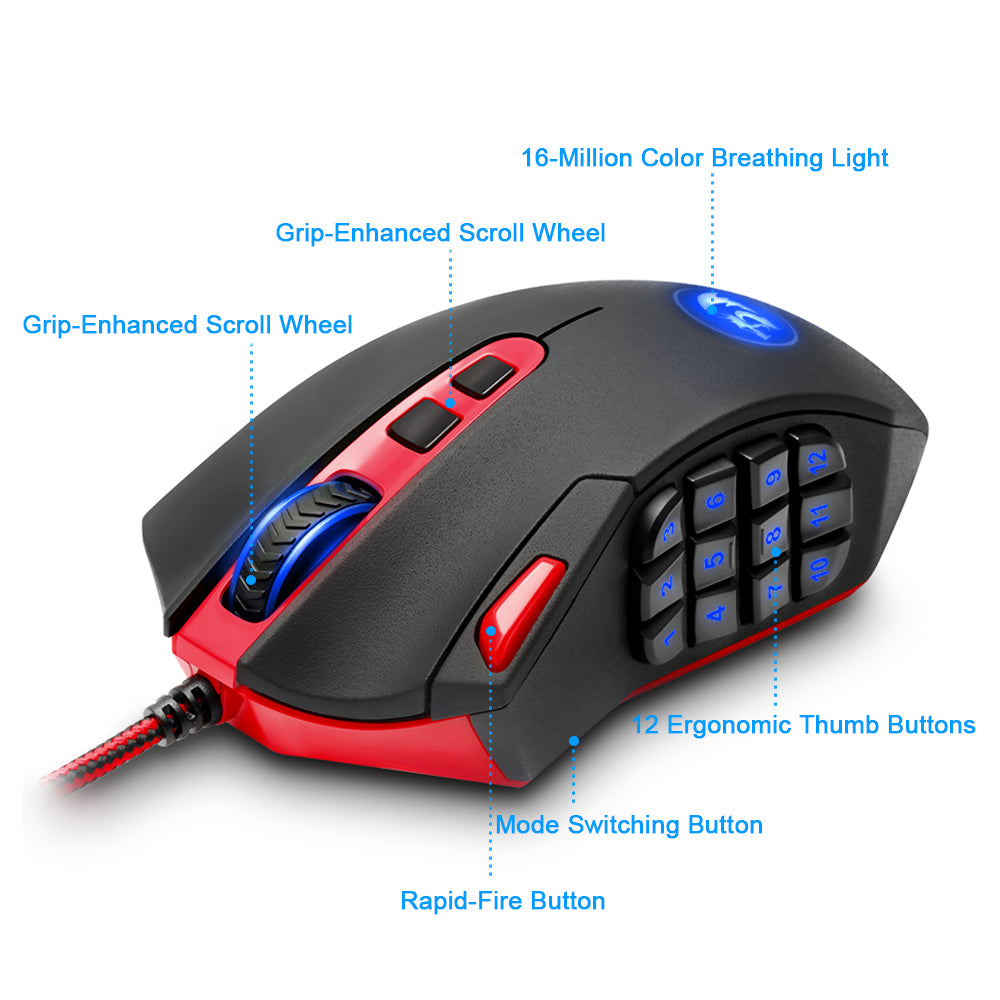 Redragon USB Gaming Mouse 16400 DPI programmable buttons - gameregion