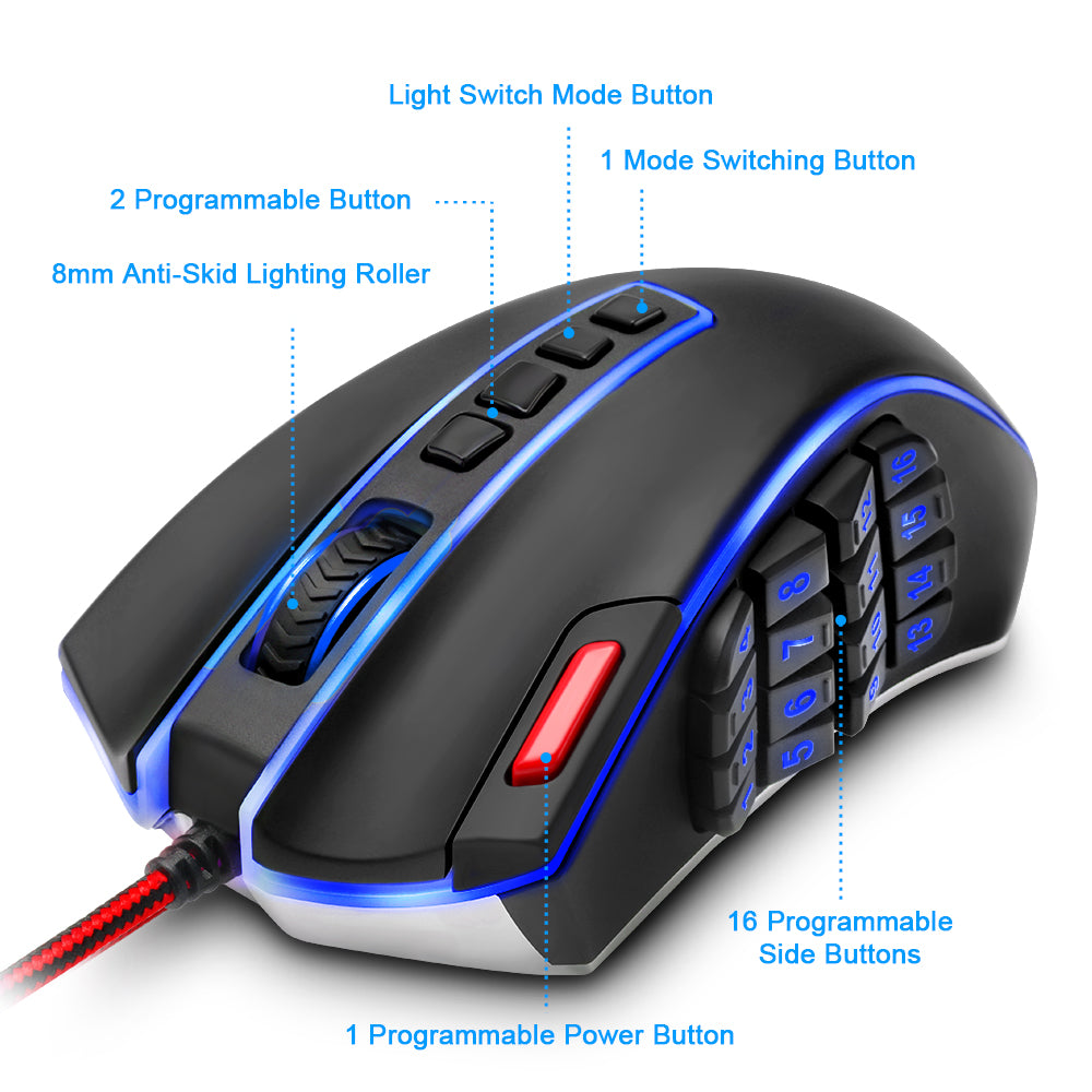 Redragon Gaming Mouse 16400 DPI 24 buttons programmable - gameregion