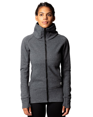 Midtown Zip Funnel Neck Fleece Charcoal