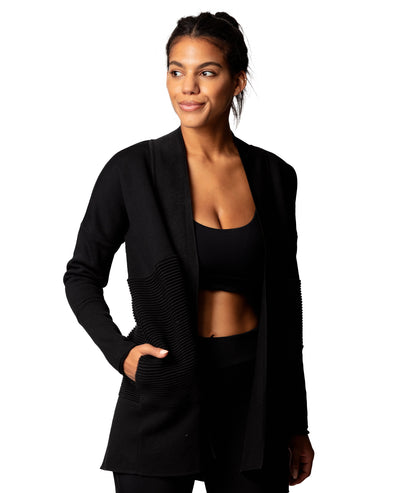 Flipside Fleece Cardigan Black