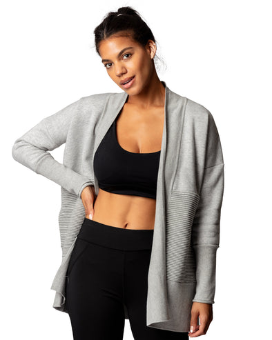 Flipside Fleece Cardigan Heather Grey