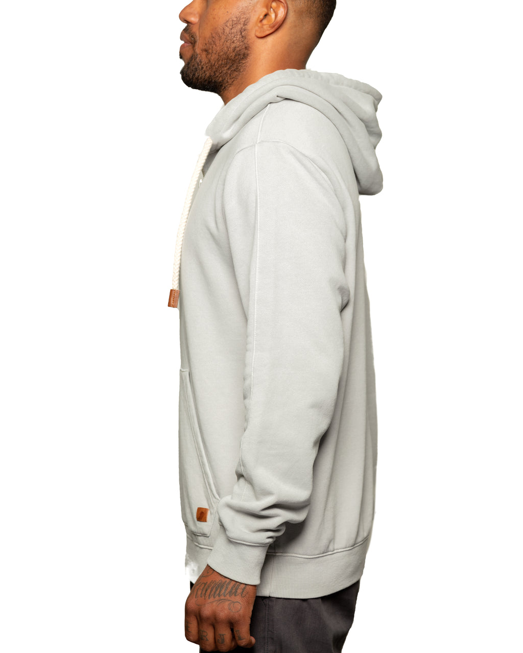 """LATER"" 1/4 ZIP SPRING WEIGHT FULL ZIP HOODIE HEATHER GREY - Fundamental Coast"