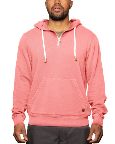 """Later"" 1/4 Zip Spring Weight Pull Over Hoodie Dusty Red - Fundamental Coast"