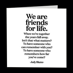 """we are friends for life"" card"