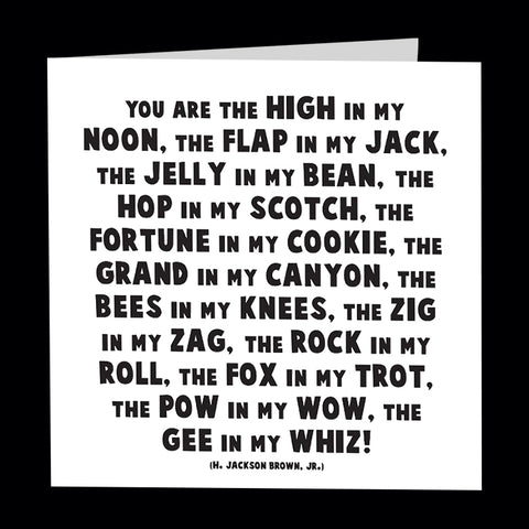 """high in my noon"" card"