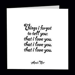 """things i forgot to tell you"" card"