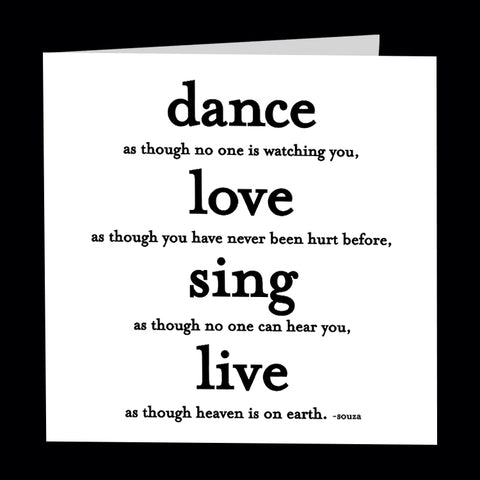 """dance, love, sing"" card"