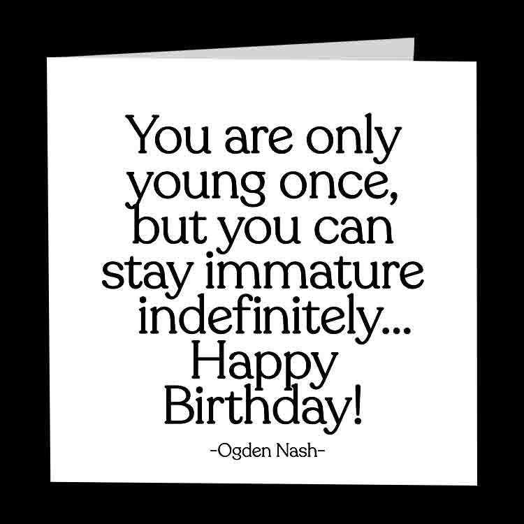 """only young once"" card"