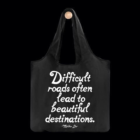 """difficult roads"" reusable bag"