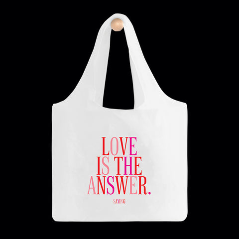 """love is the answer"" reusable bag"