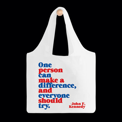 """one person"" reusable bag"
