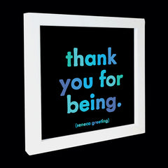 """thank you for being"" card"
