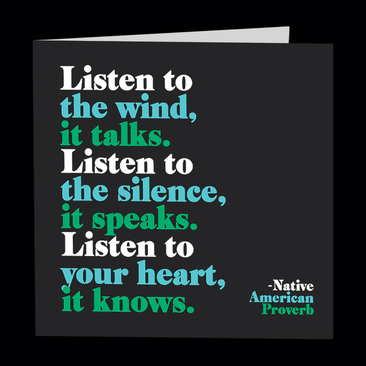 """listen to the wind"" card"