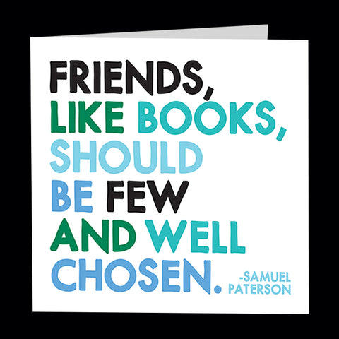 """friends, like books"" card"