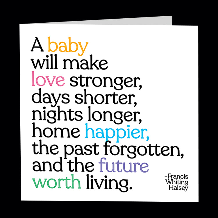 """a baby will make"" card"