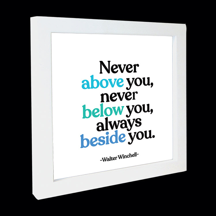 """never above you"" card"