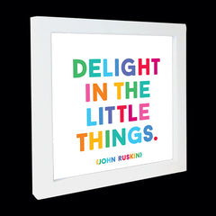 """delight in the little things"" card"