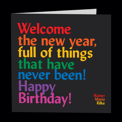 """welcome the new year"" card"