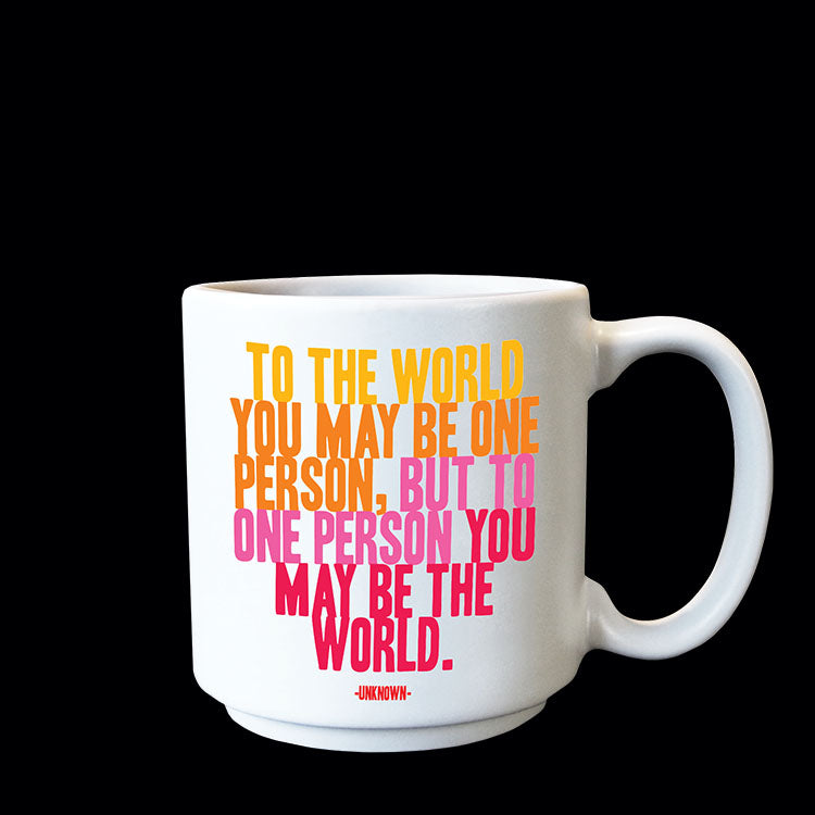 """to the world"" mini mug"