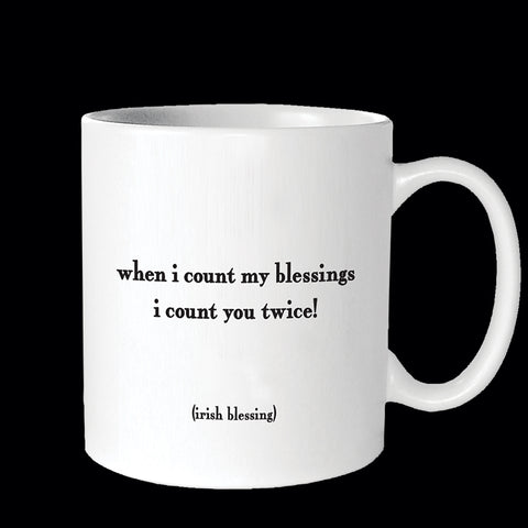 """when i count my blessings"" mug"