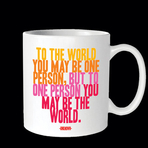 """to the world"" mug"