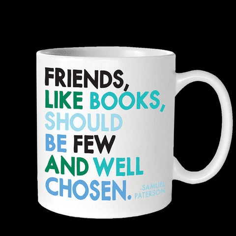 """friends, like books"" mug"