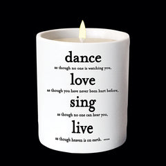 """dance, love, sing"" candle"