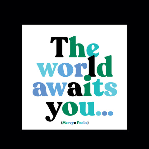 """the world awaits you"" magnet"