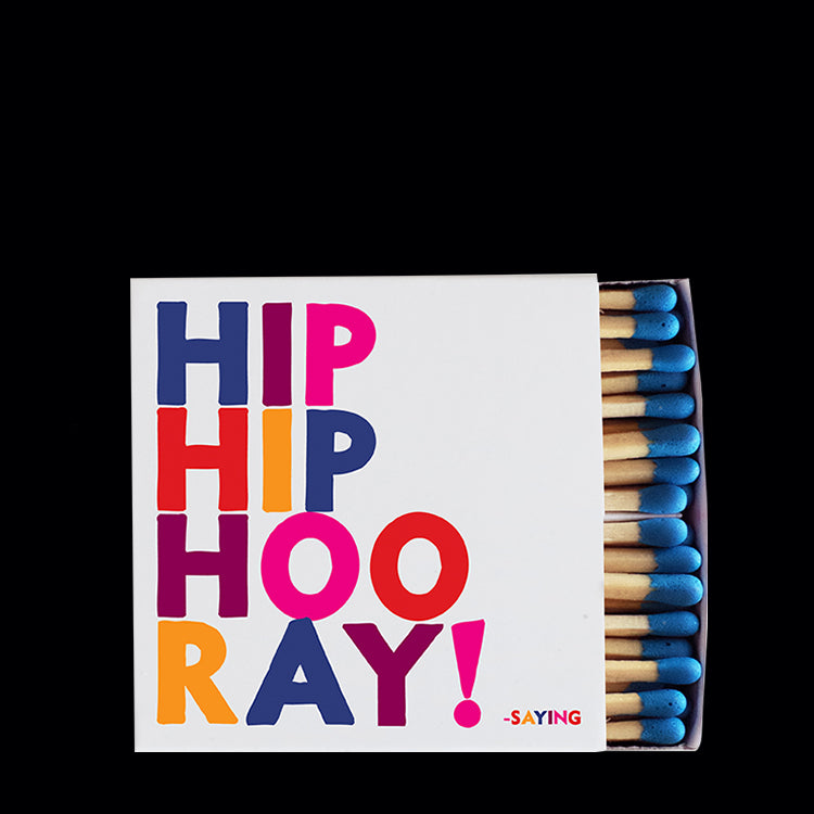 """hip hip hooray!"" matchbox"