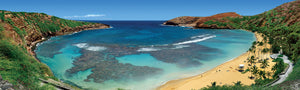 Hanauma Bay panoramic photography poster print delivers a sharp, clean image with stunning vibrant colors for your home, office, or a gift made with aloha.