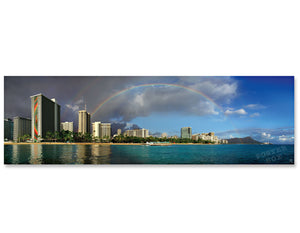 Double Rainbow over Waikiki  - Panoramic