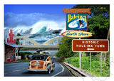 Historic Haleiwa Matted Photomontage Print