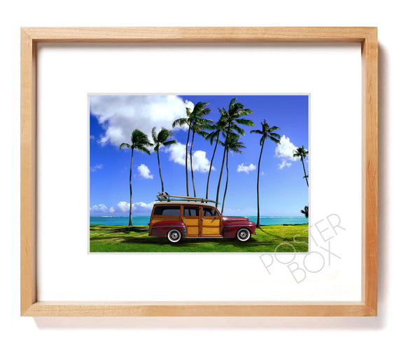 Surfing Woody Matted Photo Print