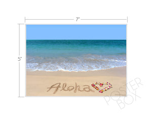 """Aloha"" Sand Writing Matted Photo Print"
