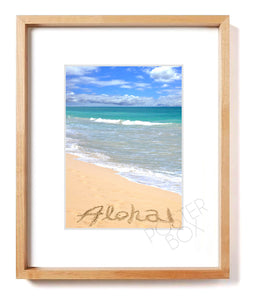 """Aloha"" Sand Writing Matted Photo Print (Vertical)"