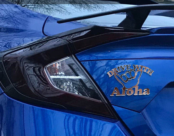 Drive with Aloha Emblem - CHROME/MIRROR