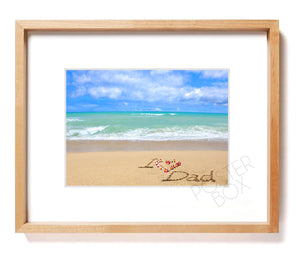 """I Love Dad"" Sand Writing Matted Photo Print"