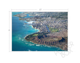 Diamond Head, Waikiki, Honolulu Aerial Matted Photo Print