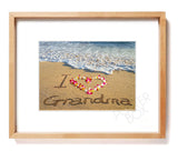 """I Love Grandma"" Sand Writing Matted Photo Print"