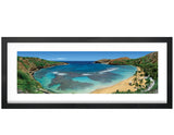 Panoramic, Photography, Poster Print, Hanauma Bay, Oahu, Hawaii, Tropical, Coral Reef, Palm Trees, Sand, Green, Blue, turquoise, Photo by Tom Yim