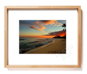 "Hawaiian Sunset with ""Hawaii"" Sand Writing Matted Photo Print"