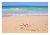 "I Love My Husband"" Sand Writing Matted Photo Print"