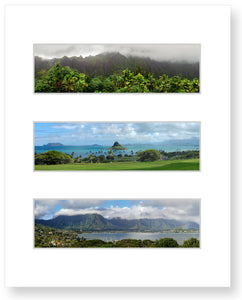 Waterfalls at Koolau Mountain, Chinamans Hat, Kaneohe Bay