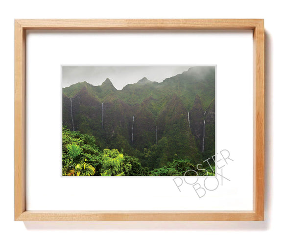 Waterfalls at Koolau Mountain Matted Photo Print