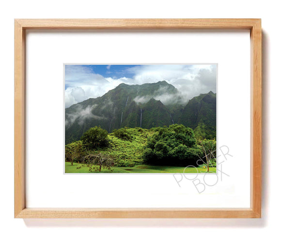 Koolau Mountain with Waterfalls Matted Photo Print