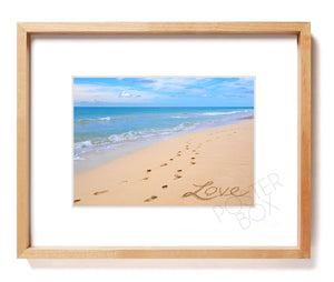 """Love"" Sand Writing Matted Photo Print"