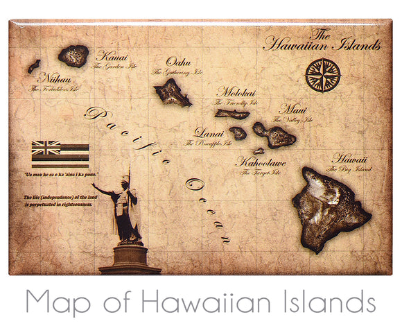Vintage Map of Hawaiian Islands 2
