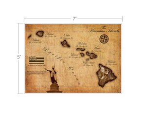 Hawaiian Islands (Vintage Inspired) Map Matted Art Print